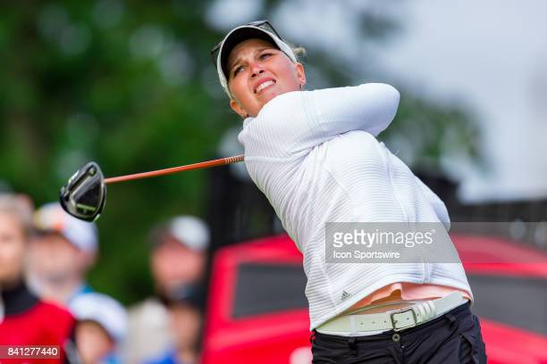 Nanna Koerstz Madsen tees off on the 1st hole during the first round of the Canadian Pacific Women's Open on August 24 2017 at The Ottawa Hunt and...