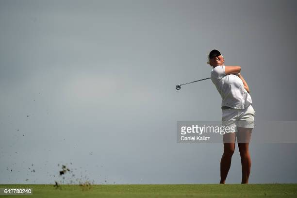 Nanna Madsen of Denmark plays a shot during round four of the ISPS Handa Women's Australian Open at Royal Adelaide Golf Club on February 19 2017 in...