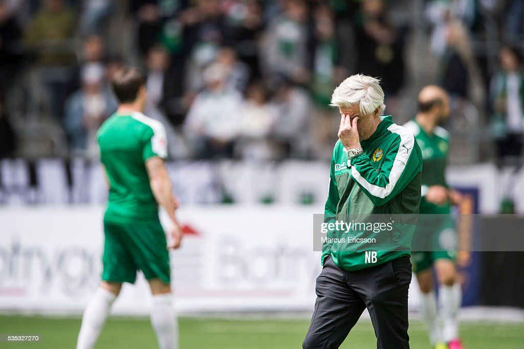 Nanne Bergstrand, head coach of Hammarby IF during the Allsvenskan match between Hammarby IF and Gefle IF at Tele2 Arena on May 29, 2016 in Stockholm, Sweden.