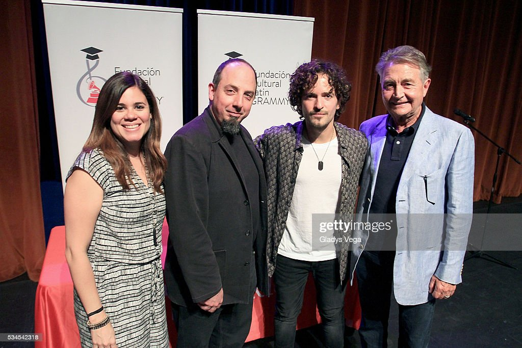 Nannette Velez of Latin GRAMMY Cultural Foundation, Jason Camelio, Director Global Initiatives of Berklee, <a gi-track='captionPersonalityLinkClicked' href=/galleries/search?phrase=Tommy+Torres&family=editorial&specificpeople=3043126 ng-click='$event.stopPropagation()'>Tommy Torres</a> and Manolo Diaz, VP Latin GRAMMY Cultural Foundation participates of Latin GRAMMY Master Class at Escuela de Bellas Artes on May 26, 2016 in Carolina, Puerto Rico.
