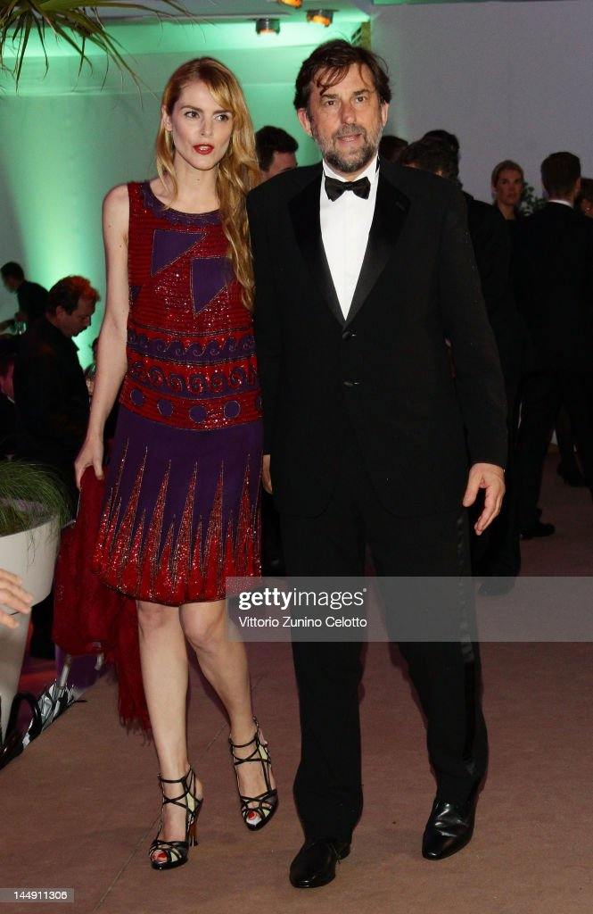 Nanni Moretti and Chiara Palmieri attend the 65th Anniversary Party at the Agora May 21, 2012 in Cannes, France.