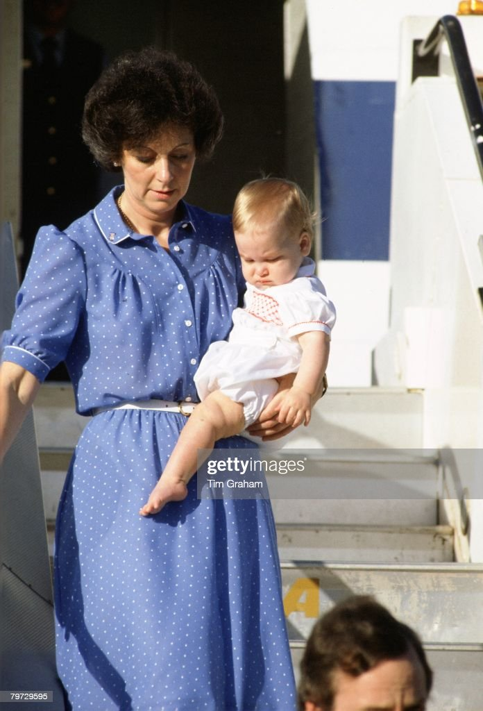 Nanny Barbara Barnes carries Prince William off a Royal Flight in Australia