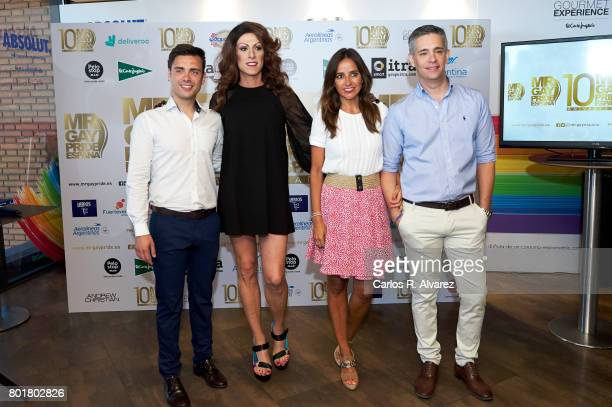 Nano Garcia Deborah Ombres Carmen Alcayde and Juan Martin Boll attend Mr Gay Pride Spain 2017 press conference at the El Corte Ingles Preciados store...