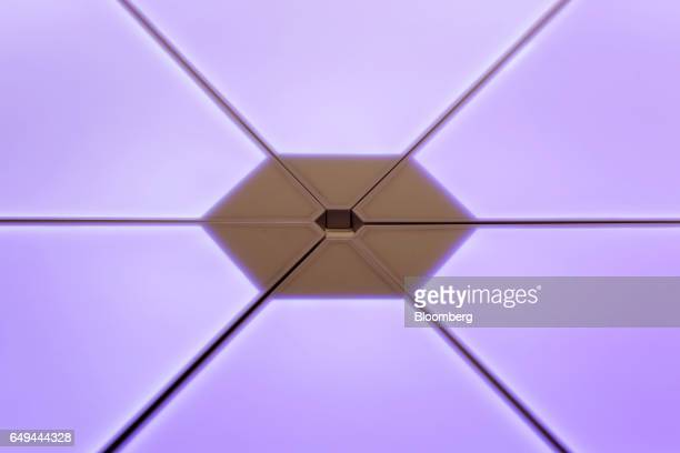 Nanoleaf Aurora modular smart lighting panels sit on display at a SoftBank Corp Style media event in Tokyo Japan on Wednesday March 8 2017 Part of...