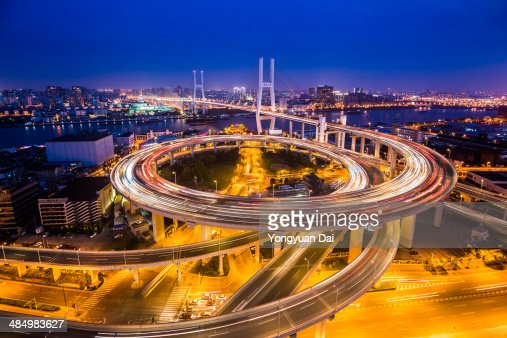 Nanpu Bridge at twilight : Stock Photo