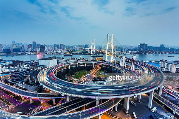 Nanpu Bridge Traffic in Shanghai,China