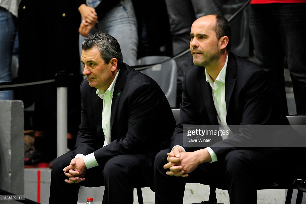 Nanterre 92 coach Pascal Donnadieu and Nanterre 92 assistant coach Franck Le Goff during the basketball French Pro A League match between Nanterre and Paris Levallois on May 5, 2016 in Nanterre, France.