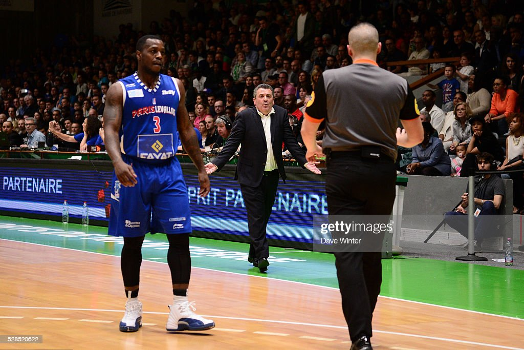 Nanterre 92 coach Pascal Donnadieu during the basketball French Pro A League match between Nanterre and Paris Levallois on May 5, 2016 in Nanterre, France.