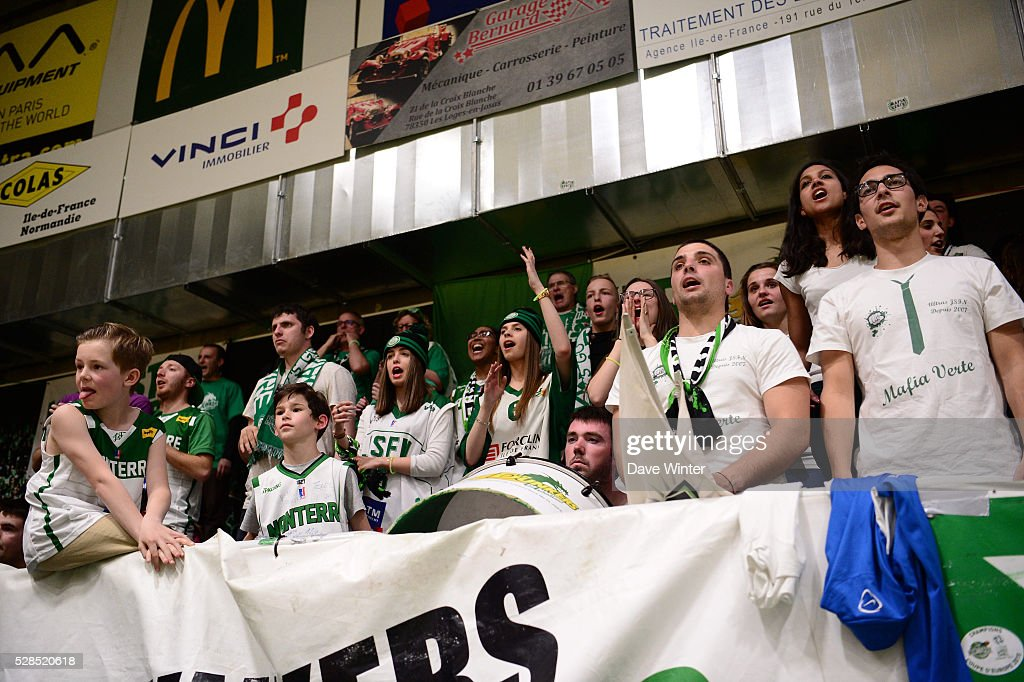 Nanterre fans during the basketball French Pro A League match between Nanterre and Paris Levallois on May 5, 2016 in Nanterre, France.