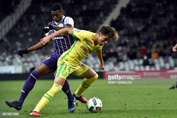Nantes Amine Harit controls the ball during the French L1 football match Toulouse vs Nantes on January 14 2017 at the Municipal Stadium in Toulouse...