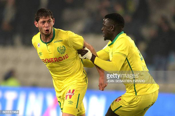 Nantes' Argentinian forward Emiliano Sala celebrates after scoring a goal during the French Ligue 1 football match between FC Nantes and Toulouse FC...
