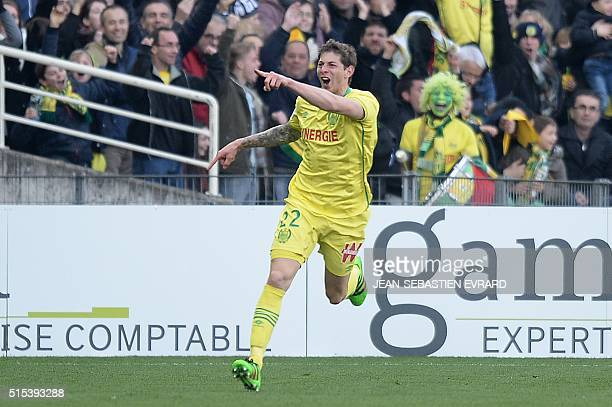 Nantes' Argentinian forward Emiliano Sala celebrates after scoring a goal during the French L1 football match between Nantes and Angers on March 13...