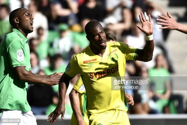 Nante's Burkinabese forward Prejuce Nakoulma celebrates and reacts after scoring a goal during the French L1 football match between AS SaintEtienne...