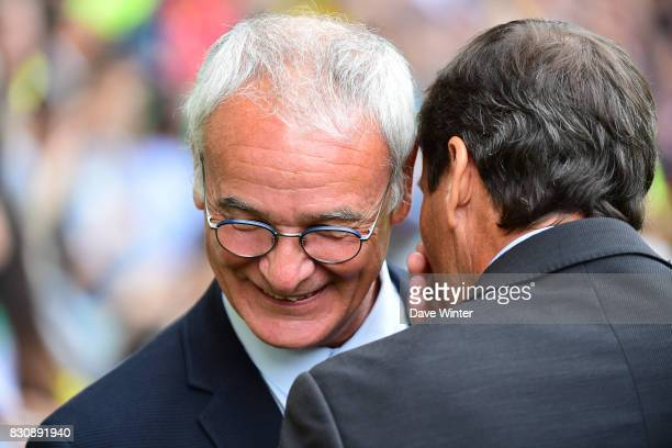 Nantes coach Claudio Ranieri and Marseille coach Rudi Garcia share a confidence before the Ligue 1 match between FC Nantes and Olympique Marseille at...