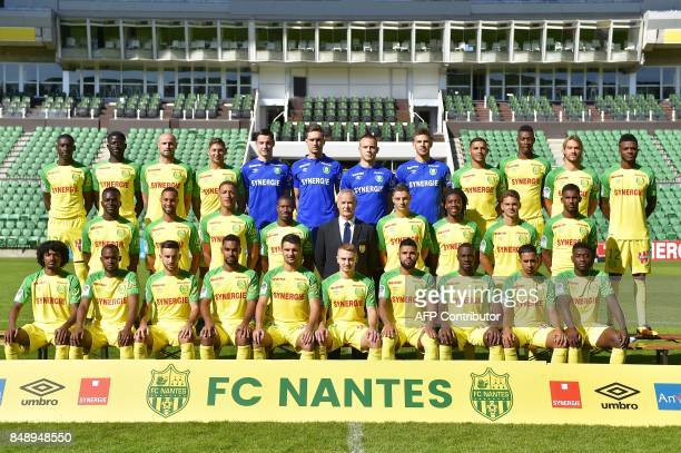 Nantes' football club players pose during the official presentation of the team on September 18 2017 in Nantes western France French midfielder Enock...