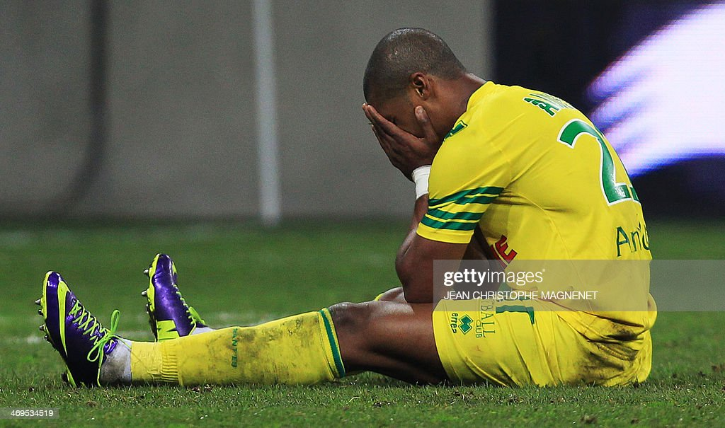 Nantes' French forward Johan Audel reacts during the French L1 football match between OGC Nice (OGCN) and FC Nantes (FCN) on February 15, 2014, at the Allianz Riviera stadium, in Nice, southeastern France.