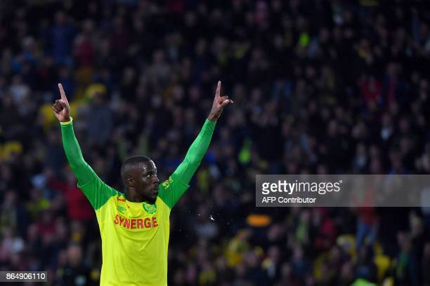 Nantes' French forward Jules Iloki celebrates at the end of the French L1 football match Nantes vs Guingamps at the La Beaujoire stadium in Nantes...