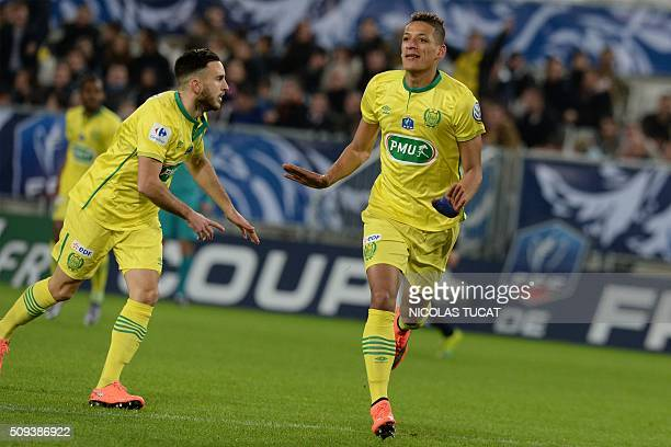 Nantes' French forward Yacine Bammou celebrates after scoring during the French Cup match between Bordeaux and Nantes on February 10 2016 at the...