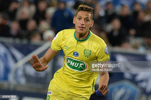 Nantes' French forward Yacine Bammou celebrates after scoring during the French Cup round of 16 football match between Bordeaux and Nantes on...