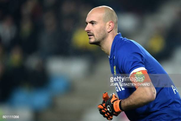 Nantes' French goalkeeper Remy Riou looks on during the French Ligue 1 football match between FC Nantes and Toulouse FC at the La Beaujoire stadium...