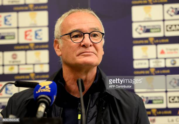 Nantes' French Italian coach Claudio Ranieri gives a press conferences after the French League Cup football match between Nantes and Tours at the...