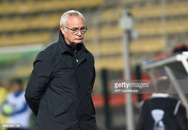 Nantes' French Italian coach Claudio Ranieri looks on during the French League Cup football match between Nantes and Tours at the Vallee du Cher...