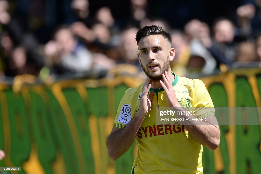 Nantes' French midfielder Adrien Thomasson celelebrates after scoring a goal during the French L1 football match between Nantes and Nice on April 30, 2016 at the Beaujoire stadium in Nantes, western France.