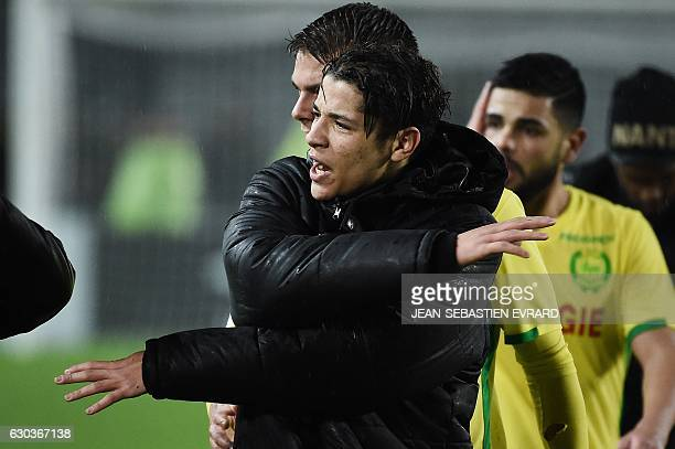 Nantes' French midfielder Amine Harit reacts at the end of the French L1 football match between Nantes and Montpellier on December 21 2016 at the...