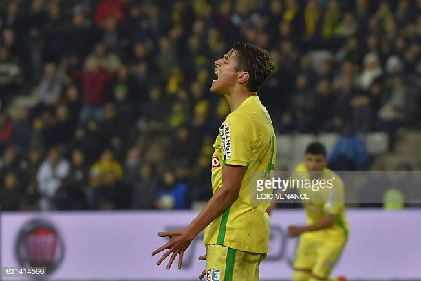 Nantes' French midfielder Amine Harit reacts during the French league cup quarter final match Nantes vs Nancy at the La Beaujoire stadium on January...