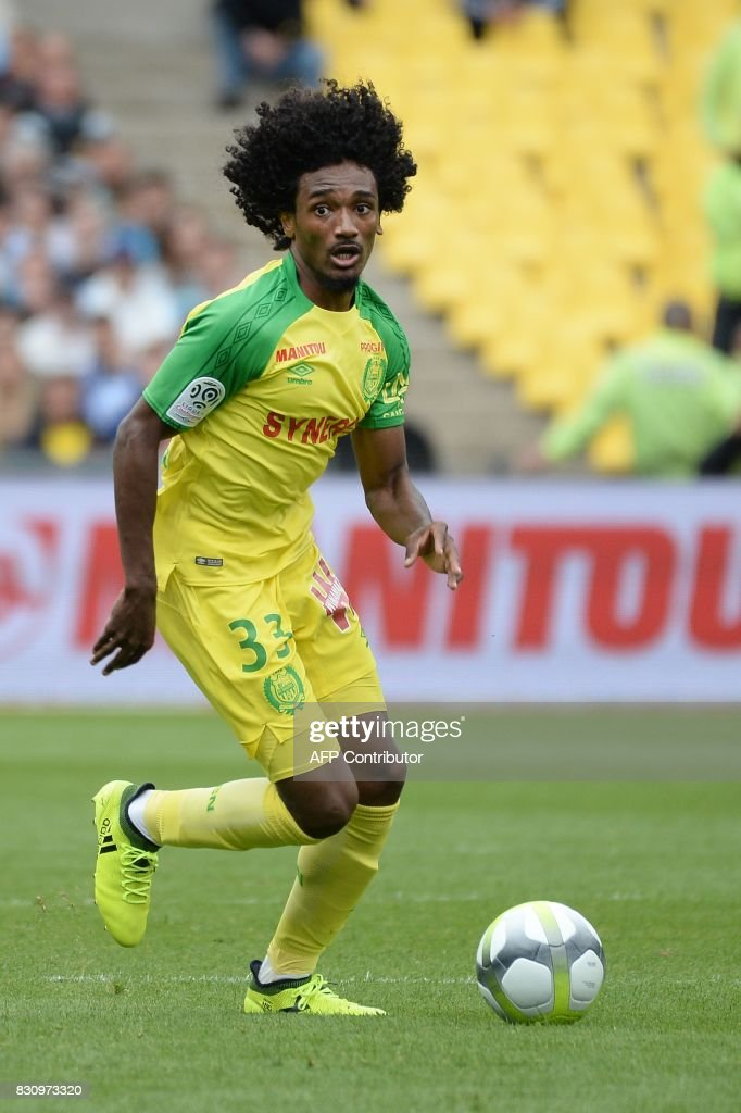 Nantes' French midfielder Samuel Moutoussamy runs with the ball during the French Ligue 1 football match between Nantes (FCN) and Olympique de Marseille (OM) on August 12, 2017 at Beaujoire stadium, in Nantes, western France. /
