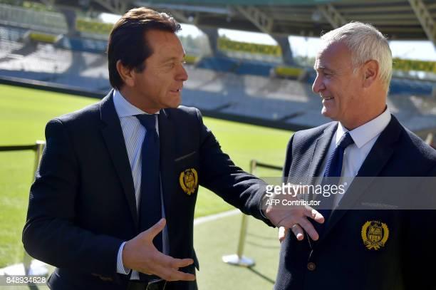 Nantes' French Polish president Waldemar Kita chats with Nantes' Italian head coach Claudio Ranieri during the official presentation of the team on...