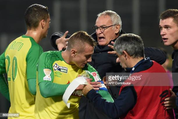 Nantes' Italian coach Claudio Ranieri reacts during the French League Cup football round of 16 football match between Nantes and Tours at the Vallee...