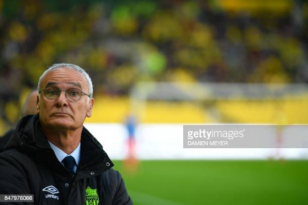 Nantes' Italian head coach Claudio Ranieri attends the French L1 football match between Nantes and Ajaccio on September 16 2017 at Beaujoire stadium...