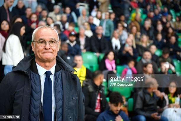 Nantes' Italian head coach Claudio Ranieri attends the French L1 football match Nantes against Ajaccio on Septembre 16 2017 at the Beaujoire stadium...