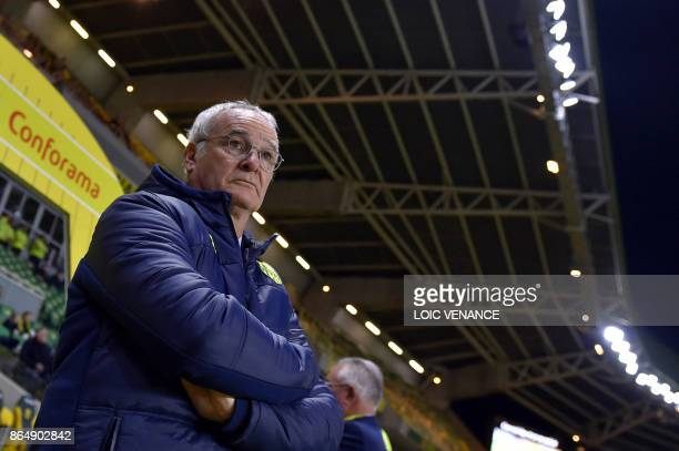 Nantes' Italian head coach Claudio Ranieri attends the French L1 football match Nantes vs Guingamps at the La Beaujoire stadium in Nantes western...