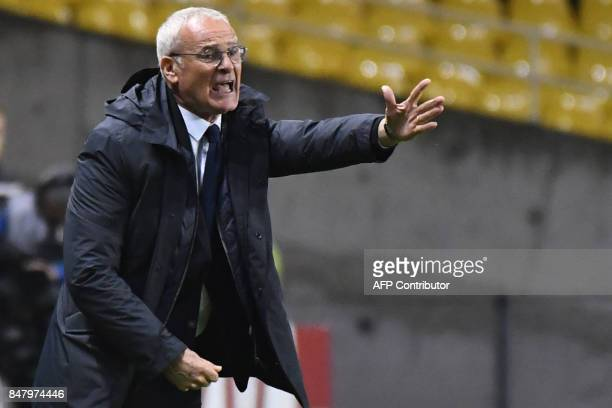 Nantes' Italian head coach Claudio Ranieri gestures during the French L1 football match between Nantes and Ajaccio on September 16 2017 at Beaujoire...
