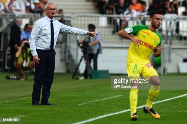 Nantes' Italian head coach Claudio Ranieri gestures during the French Ligue 1 football match between Bordeaux and Nantes on October 15 2017 in...