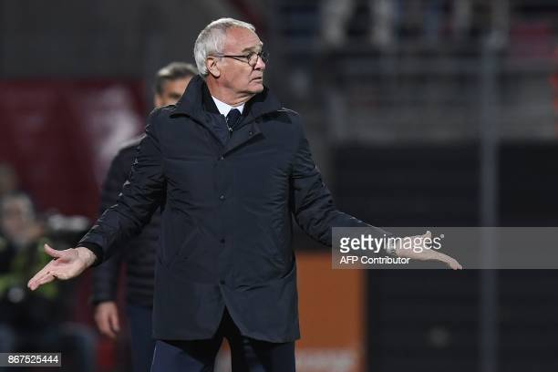 Nantes' Italian head coach Claudio Ranieri gestures during the French L1 football match between Dijon and FC Nantes on October 28 at the GastonGerard...
