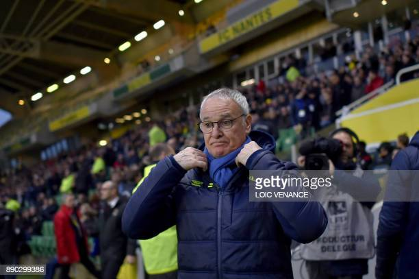 Nantes' Italian head coach Claudio Ranieri gestures during the French L1 football match Nantes vs Nice at the La Beaujoire stadium in Nantes western...