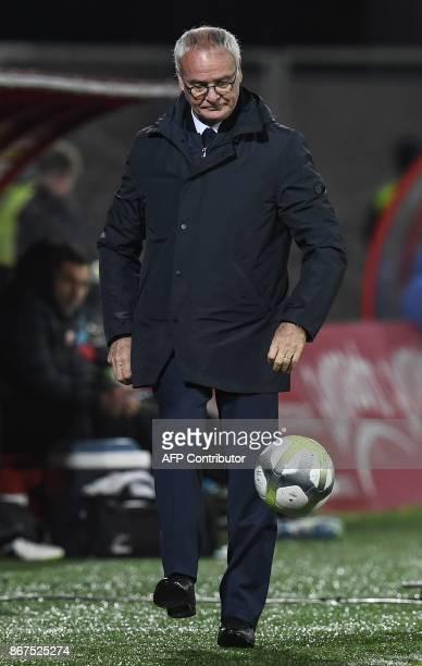 Nantes' Italian head coach Claudio Ranieri kicks the ball during the French L1 football match between Dijon and FC Nantes on October 28 at the...