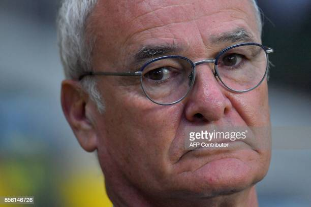 Nantes' Italian head coach Claudio Ranieri looks at his players warming up prior to the French L1 football match Nantes vs Metz at the La Beaujoire...