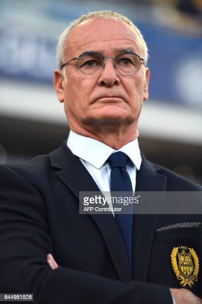 Nantes' Italian head coach Claudio Ranieri looks on during the French L1 football match between Montpellier and Nantes on September 9 at the La...