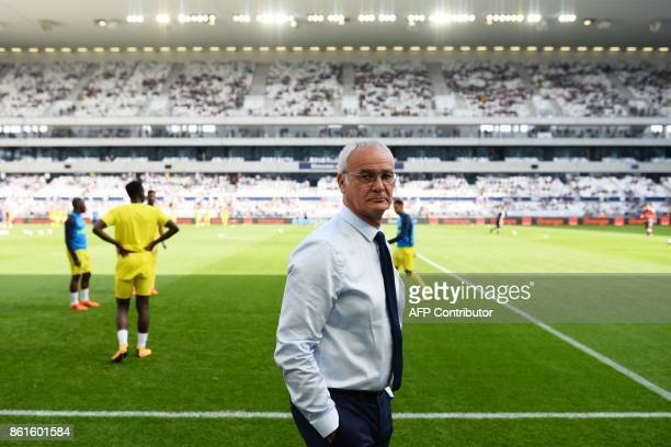 Nantes' Italian head coach Claudio Ranieri looks on during the French L1 football match between Bordeaux and Nantes on October 15 at the Matmut...