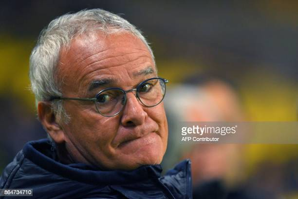 Nantes' Italian head coach Claudio Ranieri looks on during the French L1 football match between Nantes and Guingamp at the La Beaujoire Stadium in...