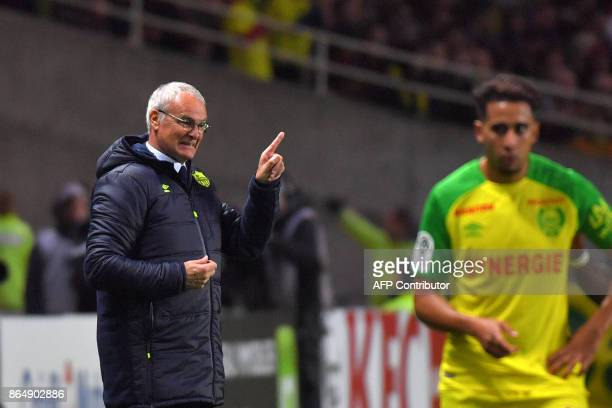 Nantes' Italian head coach Claudio Ranieri reacts while attending the French L1 football match Nantes vs Guingamps at the La Beaujoire stadium in...