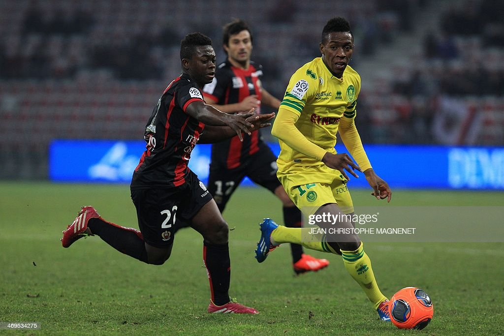 Nantes' Malian midfielder Birama Toure (R) vies with Nice's French midfielder Nampalys Mendy during the French L1 football match between OGC Nice (OGCN) and FC Nantes (FCN) on February 15, 2014, at the Allianz Riviera stadium, in Nice, southeastern France.