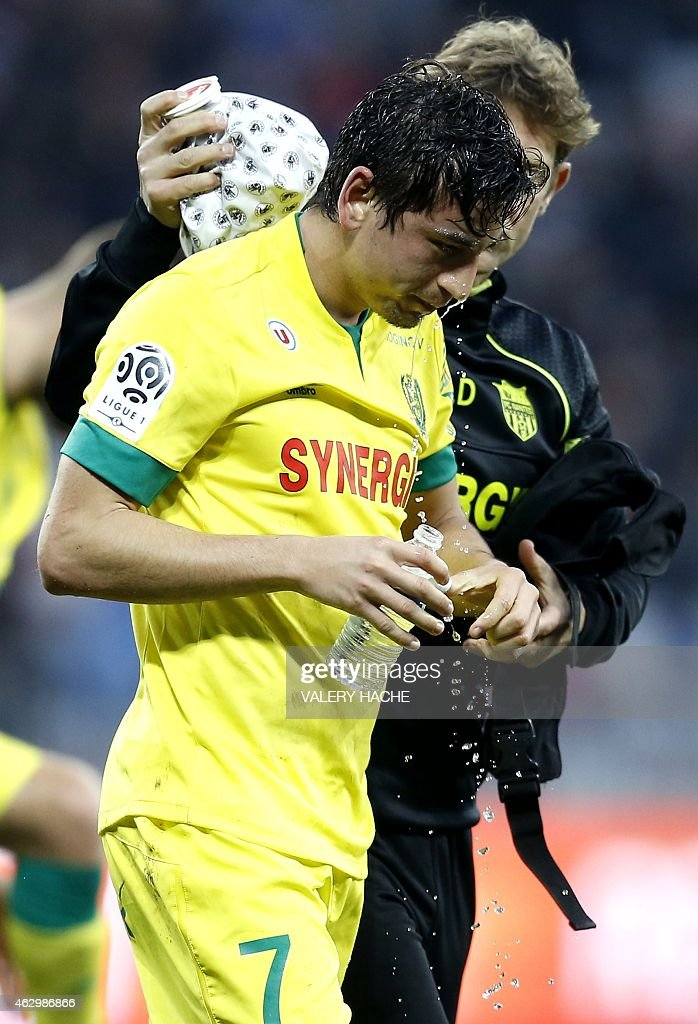 Nantes midfielder <a gi-track='captionPersonalityLinkClicked' href=/galleries/search?phrase=Alejandro+Bedoya&family=editorial&specificpeople=6703886 ng-click='$event.stopPropagation()'>Alejandro Bedoya</a> reacts during the French L1 football match between Nice and Nantes on february 8, 2015 at the Allianz Riviera stadium in Nice, southeastern France.