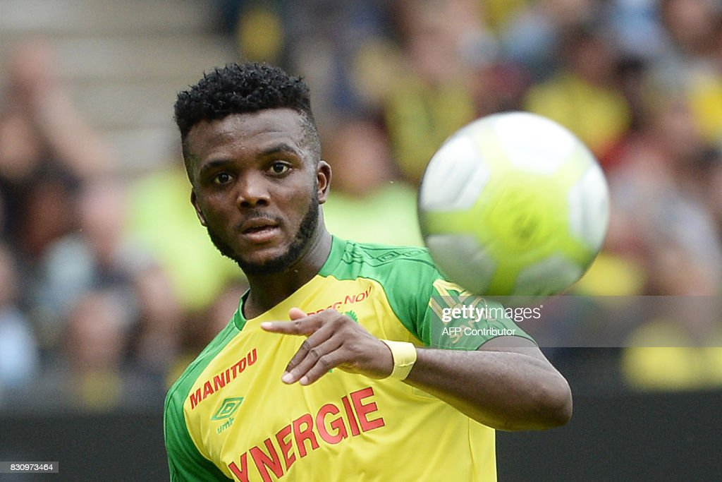 Nantes' Nigerian defender Chidozie Awaziem kicks the ball during the French Ligue 1 football match between Nantes (FCN) and Olympique de Marseille (OM) on August 12, 2017 at Beaujoire stadium, in Nantes, western France. /