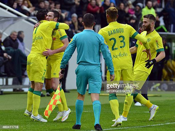 FC Nantes players celebrate after scoring during the French L1 football match FC Nantes vs FCG Bordeaux on december 132014 at the La Beaujoire...