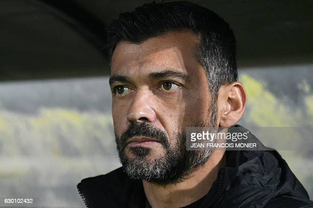 Nantes' Portuguese coach Sergio Conceicao attends the French L1 football match between Angers and Nantes at the Jean Bouin Stadium in Angers...